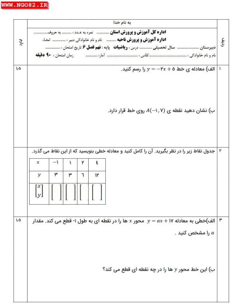 نمونه سوال ریاضی نهم فصل 6 با پاسخ تشریحی صفحه 1