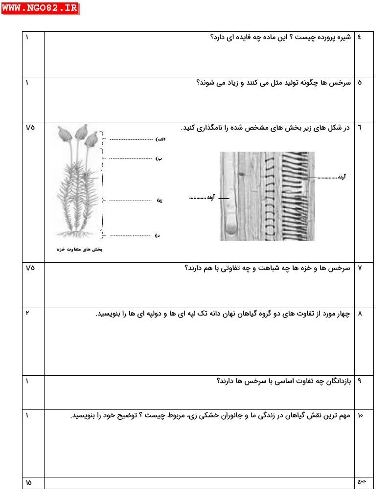 نمونه سوال تشریحی علوم نهم فصل 12 با پاسخ 3