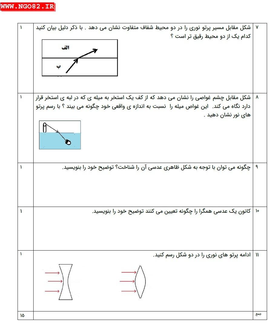نمونه سوال تشریحی علوم هشتم فصل 15 با پاسخ 4