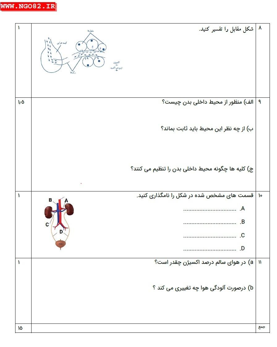 نمونه سوال تشریحی علوم هفتم فصل 15 با پاسخ 4