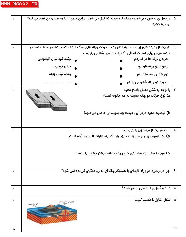 نمونه سوال تشریحی علوم نهم فصل 6 با پاسخ 3