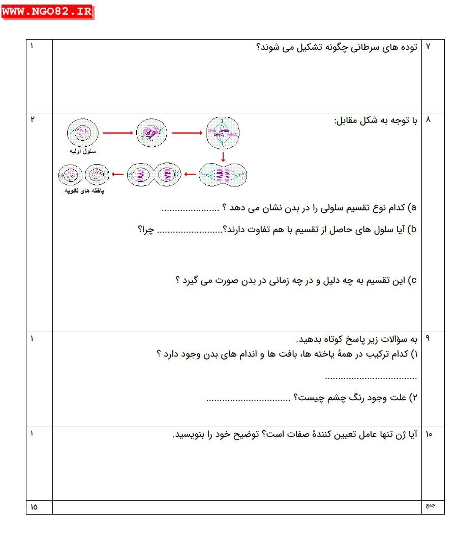 نمونه سوال تشریحی علوم هشتم فصل 7 با پاسخ 4