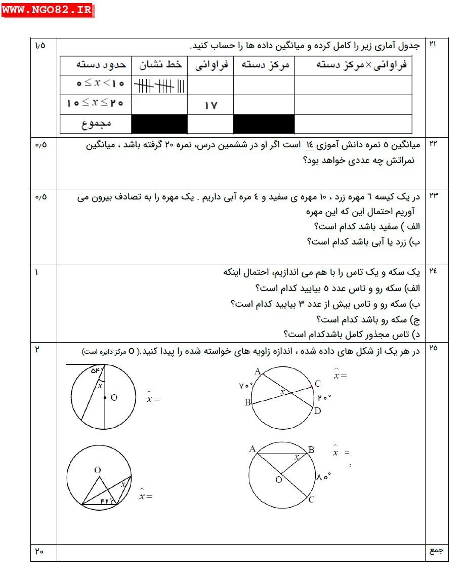 نمونه سوال ریاضی هشتم خردادماه + پاسخ تشریحی 4