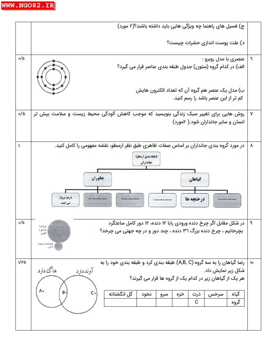 نمونه سوال علوم نهم خردادماه با پاسخ تشریحی(1) 2