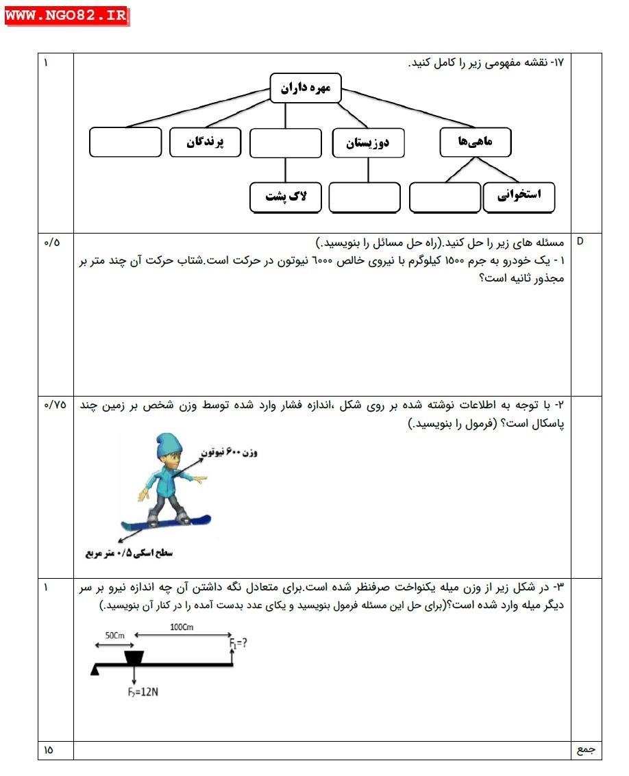 نمونه سوال علوم نهم خرداد ماه با پاسخ تشریحی(2) 4