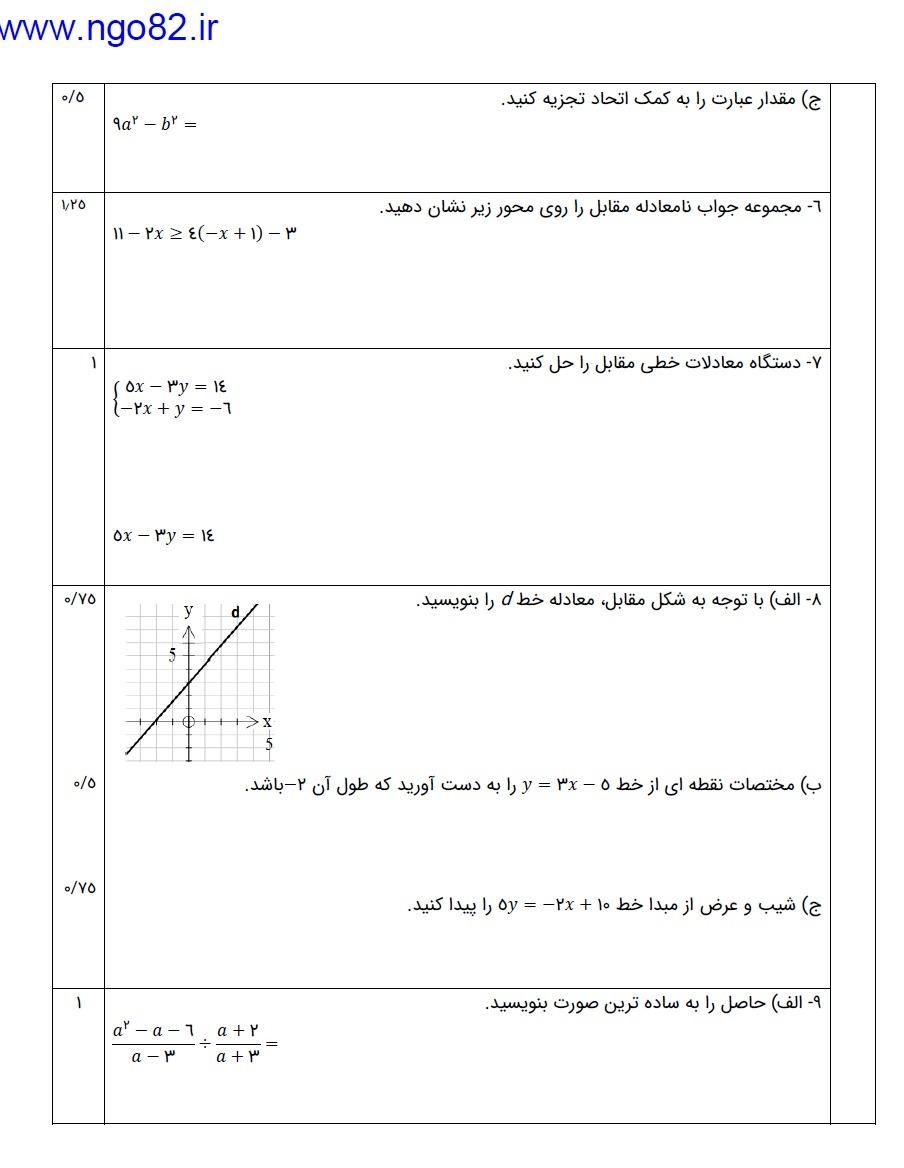 نمونه سوال ریاضی نهم خرداد با پاسخ تشریحی