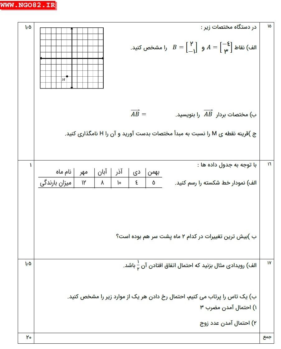 نمونه امتحان ریاضی هفتم خردادماه + پاسخ تشریحی 4