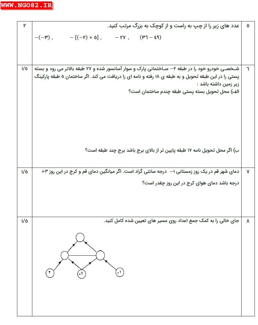 نمونه آزمون ریاضی هفتم فصل 2 با جواب تشریحی