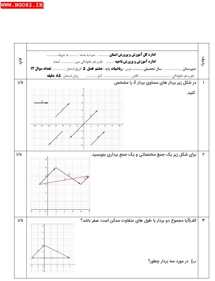 نمونه سوال ریاضی هشتم فصل 5 با جواب تشریحی (بردار و مختصات)