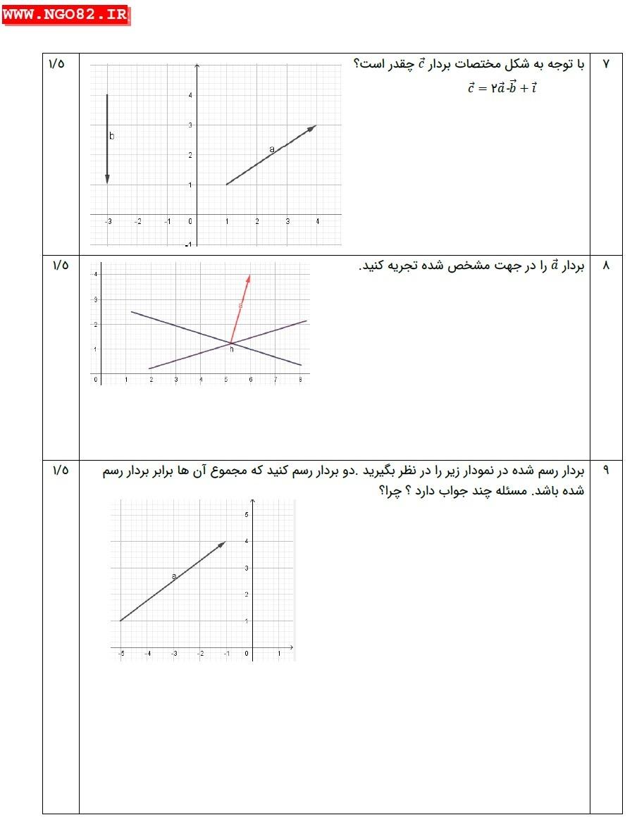 نمونه سوال ریاضی هشتم فصل 5 با جواب تشریحی (بردار و مختصات) 4